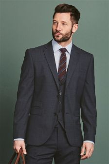 Navy Textured Tailored Fit Suit Jacket