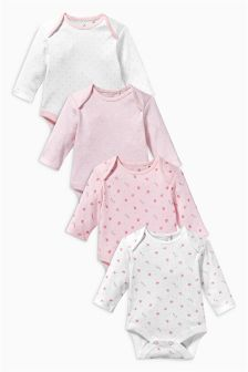 Pink Long Sleeve Bodysuits Four Pack (0mths-3yrs)
