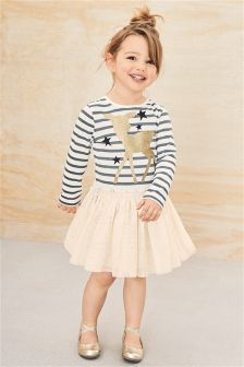Grey/Ecru Stripe Deer Dress (3mths-6yrs)