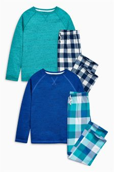 Blue Woven Pyjamas Two Pack (3-16yrs)