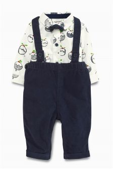 Navy Cord Dungarees Set (0mths-2yrs)