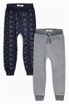 Navy/Charcoal Printed Car Joggers Two Pack (3mths-6yrs)