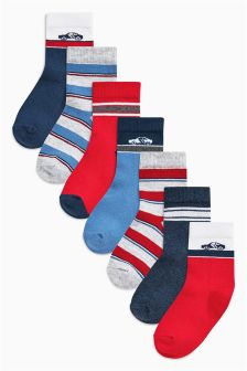 Red/Blue Transport Socks Seven Pack (Younger Boys)