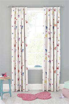 Watercolour Butterfly Print Blackout Pencil Pleat Curtains
