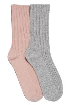 Wool/Cashmere Mix Socks Two Pack