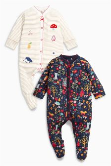 Ecru/Navy Print Sleepsuits Two Pack (0mths-2yrs)