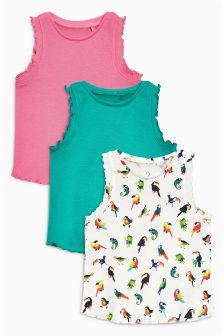 Multi Parrot Vests Three Pack (3mths-6yrs)