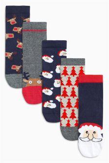 Multi Christmas Socks Five Pack (Older Boys)
