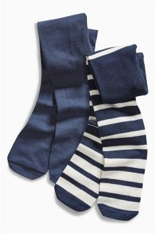 Navy Tights Two Pack (0-6mths)