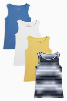 Blue, Yellow And White Vests Four Pack (3-16yrs)