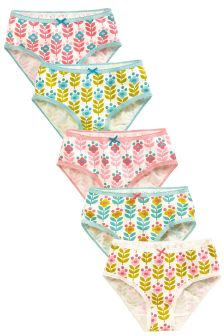 Pink/Blue Retro Floral Briefs Five Pack (1.5-16yrs)