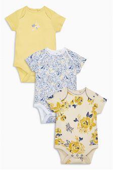 Yellow/White Giraffe Floral Bodysuits Three Pack (0mths-2yrs)