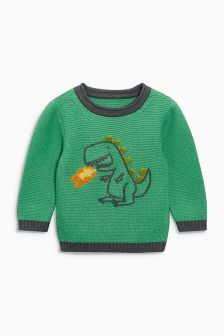 Green Dino Crew Neck Jumper (3mths-6yrs)