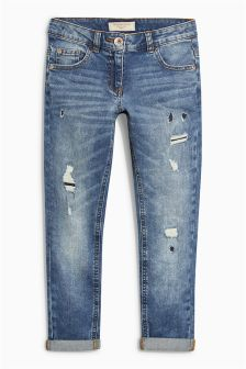 Dark Wash Distressed Relaxed Skinny Jeans (3-16yrs)