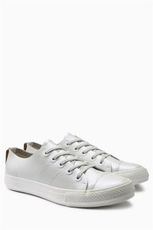 White Metallic Leather Trainers