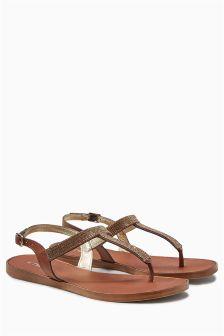 Embellished Toe Thong Sandals