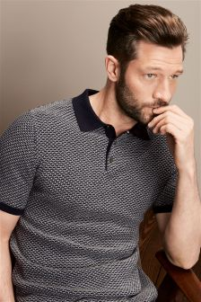 Short Sleeve Grid Polo