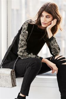 Black Embellished Sweat Top