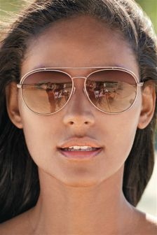 Rose Gold Tone Aviator Style Sunglasses