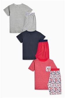 Red Skull Print Short Pyjamas Three Pack (3-16yrs)