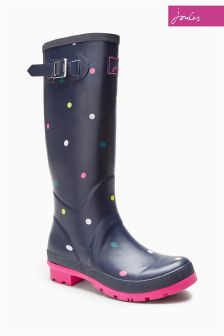 Joules Navy Multi Spot Welly