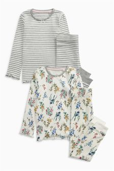 Grey Snuggle Fit Floral Pyjamas Two Pack (3-16yrs)
