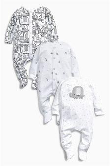 Monochrome Elephant Sleepsuits Three Pack (0mths-2yrs)