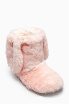 Pink Bunny Boot Slippers (Older Girls)