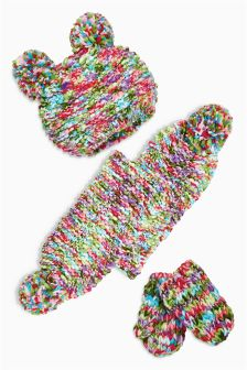Multi Spacedye Hat, Scarf And Mittens Set (Younger Girls)