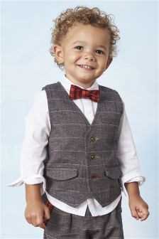 Brown/White Waistcoat And Shirt Set (3mths-6yrs)