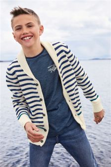 White Stripe Knitted Shawl Cardigan (3-16yrs)