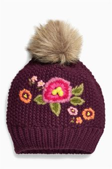 Plum Embellished Beanie (Older Girls)