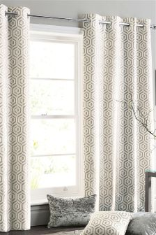 Collection Luxe Opulent Geo Jacquard Eyelet Curtains