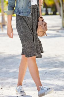 Grey Ribbed Metallic Skirt
