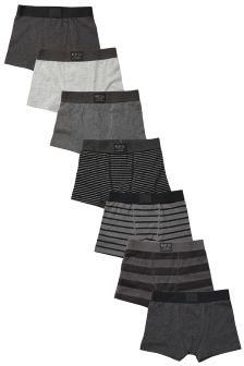 Grey/Black Stripe Trunks Seven Pack (2-16yrs)