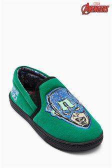 Green Captain America Slippers (Older Boys)