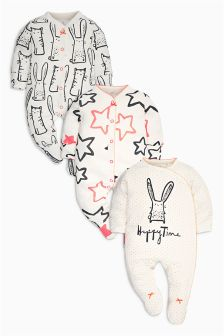 Monochrome/Pink Cat And Bunny All Over Print Sleepsuits Three Pack (0mths-2yrs)