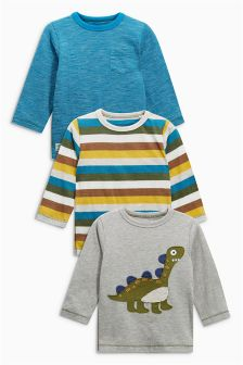 Grey Long Sleeve Appliqué Dinosaur T-Shirts Three Pack (3mths-6yrs)