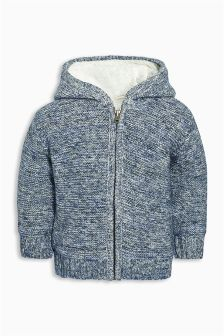 Blue Borg Lined Knitted Jacket (3mths-6yrs)