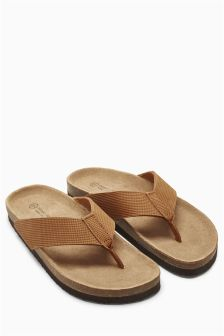 Tan Textured Leather Toe Post