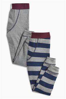 Plum/Grey Stripe Leggings Two Pack (2-16yrs)
