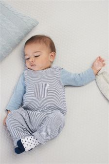 Blue Stripe Dungarees And Bodysuit Set (0mths-2yrs)