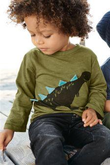 Green Long Sleeve 3D Dinosaur T-Shirt (3mths-6yrs)