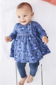 Blue Floral Dress And Leggings Set (0mths-2yrs)