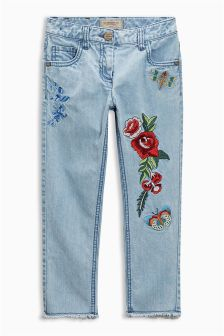 Mid Blue Embroidered Jeans (3-16yrs)