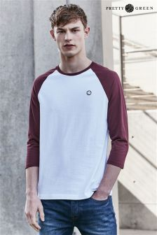 Pretty Green White/Burgundy Elham Baseball Top