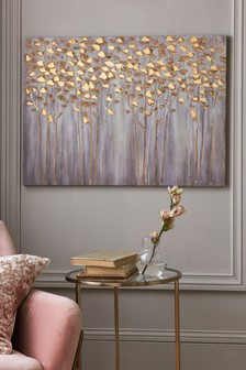 Gold Effect Trees Canvas