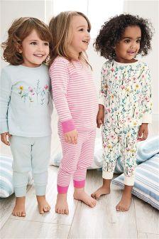 Pink/Blue Floral Snuggle Pyjamas Three Pack (9mths-8yrs)