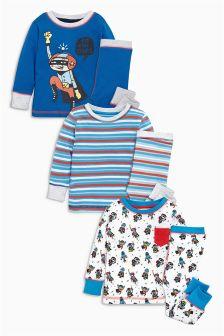 Multi Superhero Pyjamas Three Pack (9mths-8yrs)