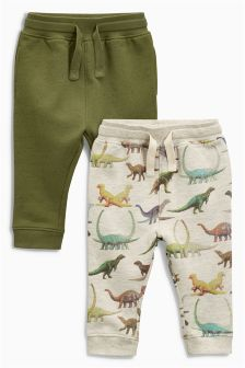 Oatmeal Dinosaur Printed Joggers Two Pack (3mths-6yrs)